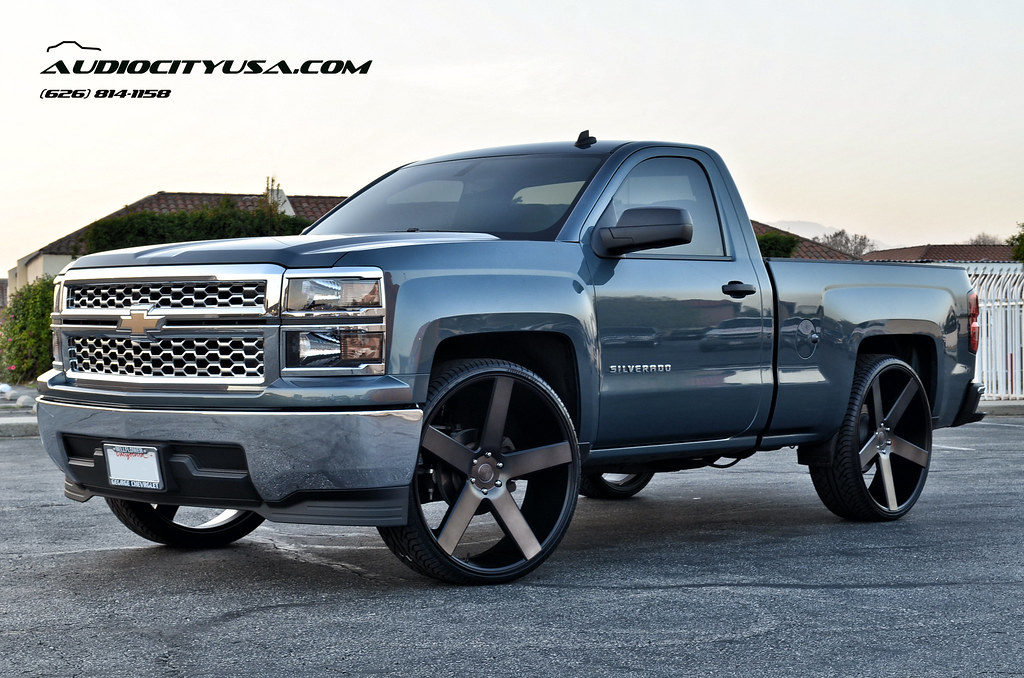 2014 chevy silverado single cab 28 on dub baller matte black with machine double tint s116