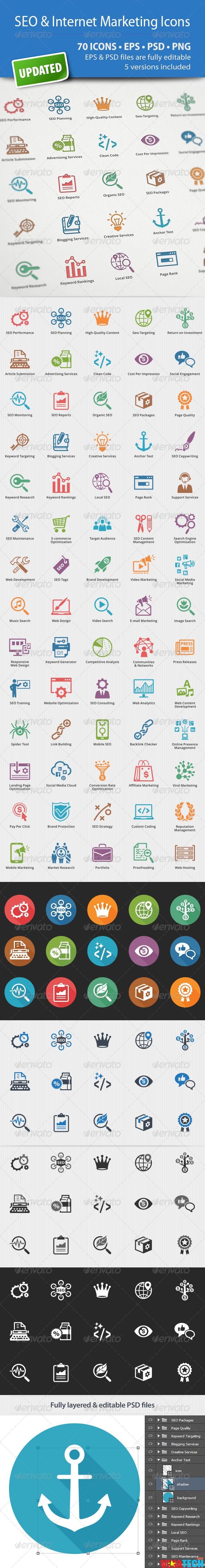 Share bộ 70 icon SEO và Internet Marketing