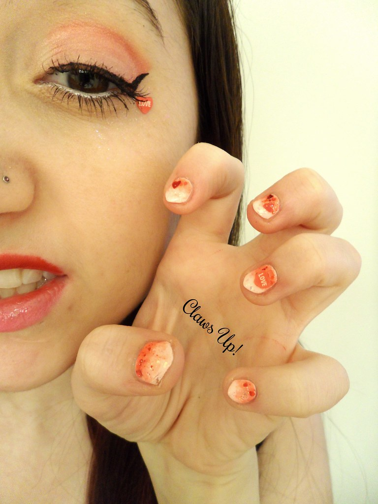Valentine's day pink and red glitter gradient makeup and matching nail art