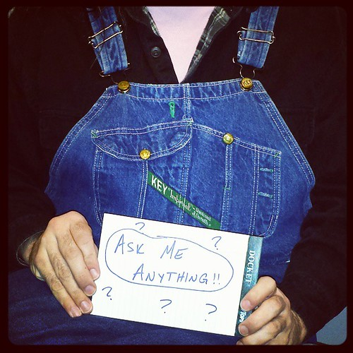 It's that time! I do this twice a year on my blog: I take questions from all comers. Details at byzantiumshores.blogspot.com. I answer the questions there, but feel free to ask them here! #AskMeAnything #overalls #AmWriting