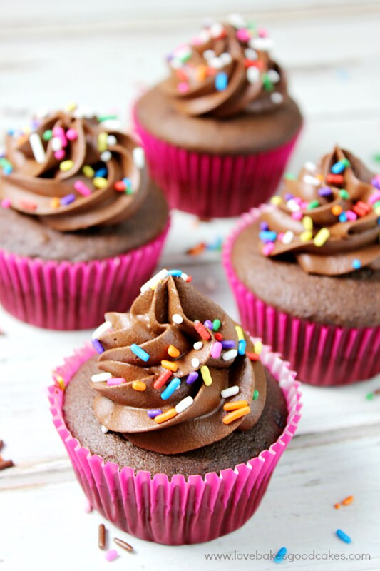 These From Scratch Chocolate Cupcakes with Chocolate Frosting are perfect for celebrating! Full of chocolate flavor - they just may become your favorite cupcake too!