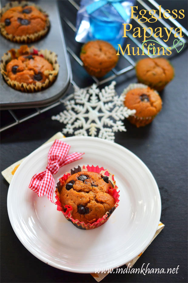 Eggless-Papaya-Chocochip-Muffin-Recipe