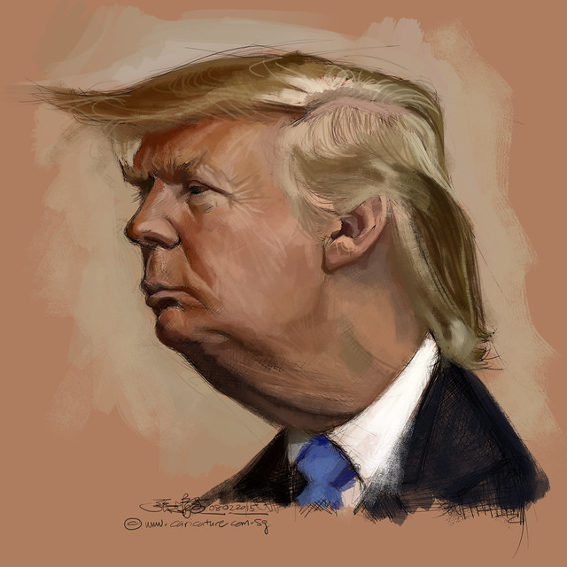 digital caricature sketch of Donald Trump - 2