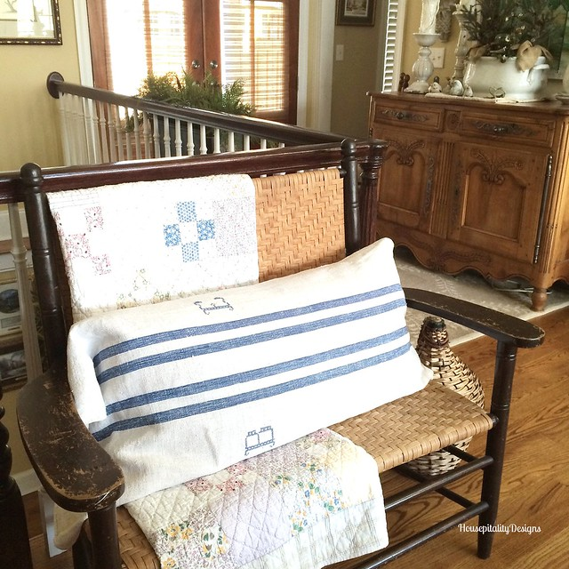 Monogrammed Grain Sack/Settee - Housepitality Designs