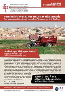 Séminaire : Durabilité des agricultures urbaines en Méditerranée, une comparaison internationale entre villes d'Europe du Sud et du Maghreb (Beyrouth, le 31 mai 2016)