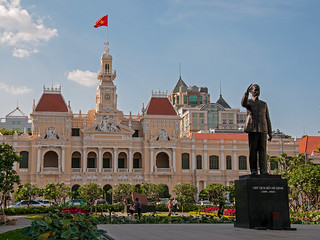 Image of Ho Chi Minh Statue. sky building architecture photoshop outside nikon asia arch exterior outdoor cityhall vietnam nikkor hochiminh d300s hochiminhsquare 18105mmf3556 nikon18105mmf3556