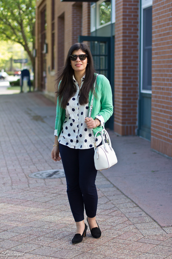 polka dot shirt, green cardigan, navy pants-1.jpg