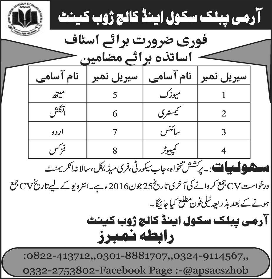 Army Public School and College Zhoob Cantt Jobs