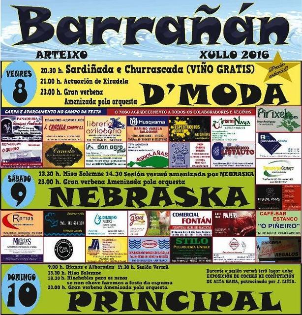 Arteixo 2016 - Festas de Barrañán - cartel