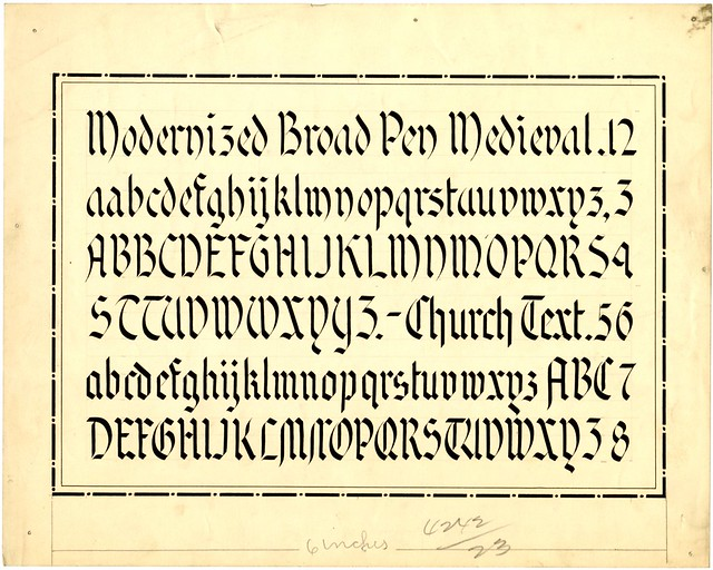 Zaner-Bloser collection original alphabet - Broad Pen Medieval or Church Text