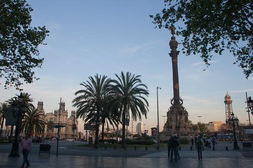 La Rambla con Colón, Barcelona