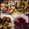 A vegetarian feast: red beets, quinoa, home-grown artichokes and a fresh caprese salad. We love spring!