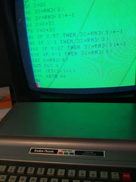 TRS-80 Color Computer 1 with a BASIC program