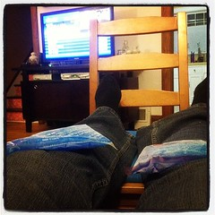 Icing the knees... After a rough night at trivia? I don't know.