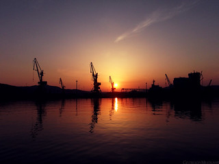 Sunset at the port