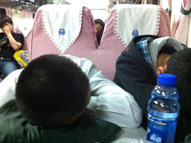 Sleeping people in the night train, China