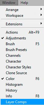 Панель Layer Comps в программе Adobe Photoshop