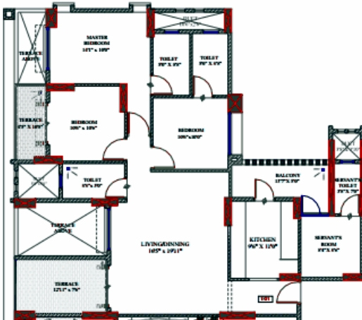 3.5 BHK Flat on Odd Floors at Le Reve Kharadi Final