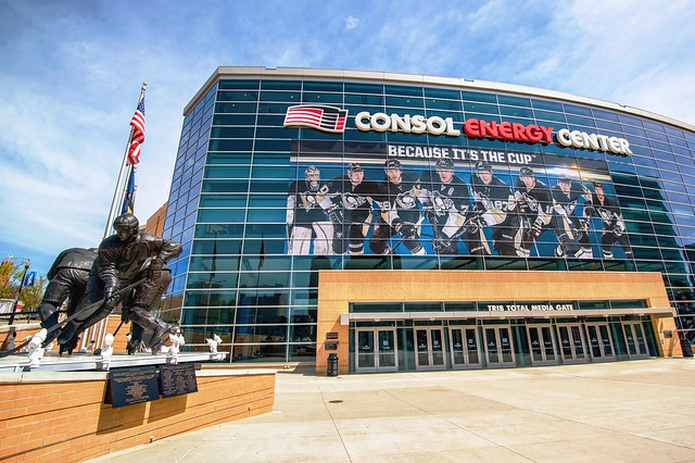 'Because it's the CUP' sign on CONSOL Energy Center HDR