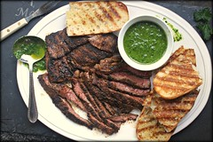 Grilled flat iron steak with chimichurri sauce and…