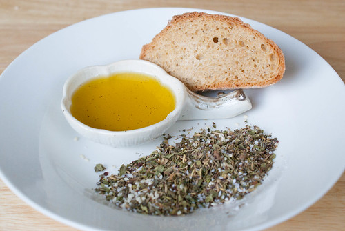 Zata'ar, bread, and olive oil