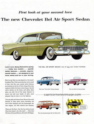 1956 chevrolet bel air car ad by CapricornOneVintage