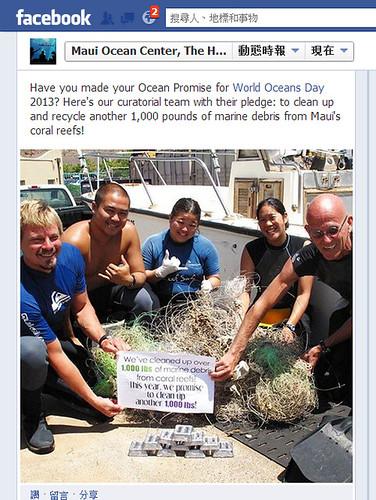 網友在臉書上貼守護海洋行動。