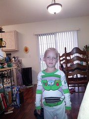 Buzz Lightyear with his new buzz cut.