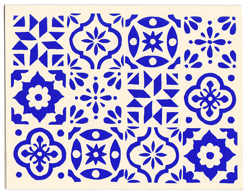 Blue White Spanish Tile Card Design Eliza Jane Curtis Delectable Spanish Patterns