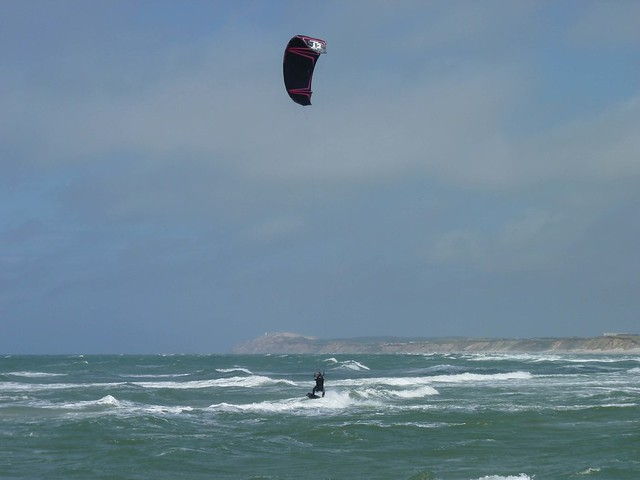 Kitesurfer on the water