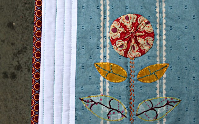 Applique Art Quilt -- Yo Yo Flower Closeup
