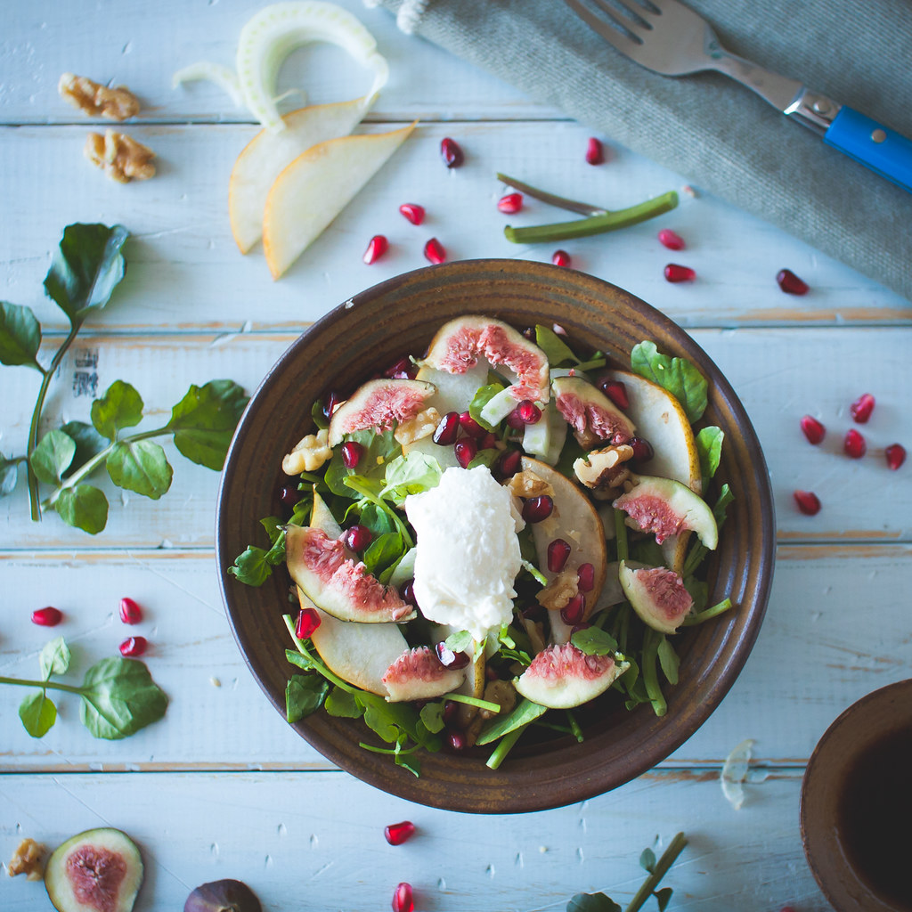 watercress, walnut, pear, fig & pomegranate salad