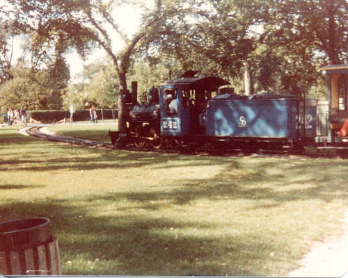 The narrow guage train ride at Chicago's Brookfield Zoo.  Brookfield Illinois.  September 1982. by Eddie from Chicago