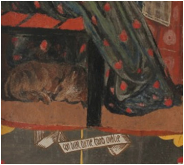 Detail from drawing-room panel, Red House, with possible wombat. (Wendy Parkins' photograph.)
