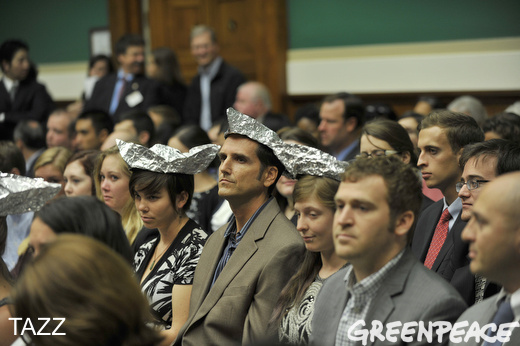 Greenpeace tin foil hat Congress climate change science denial