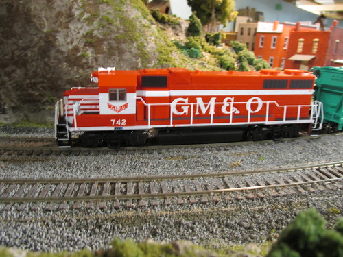 A Life Like Proto 2000 Series EMD G P 38-2 roadswitcher decorated for the former Gulf, Mobile & Ohio Railroad. by Eddie from Chicago