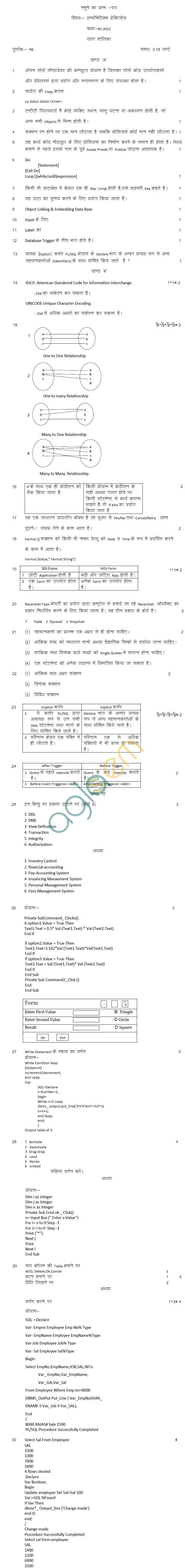 Rajasthan Board Class 12 Informatics Practices Model Question Paper