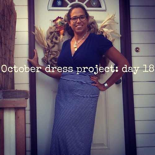 #ODP: Day 18. Dress as shirt, paired w/ striped maxi skirt.