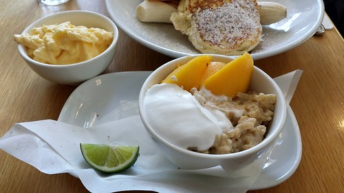 Breakfast at Bills: Brown Rice Porridge with Sweet Miso, Coconut Yogurt, Mangoes