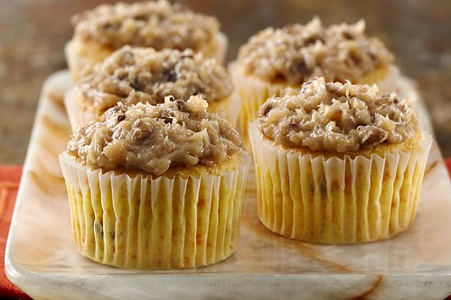 Carrot coconut pecan cupcakes