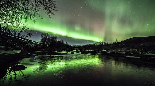 Nov 23 2013 Some northernlights over Roksøy river, Sortland, Norway.
