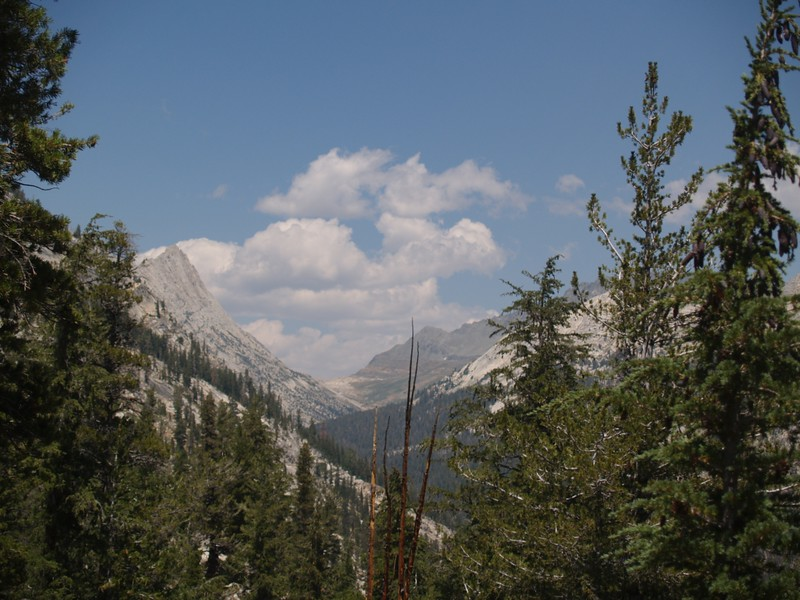View from the PCT up Spiller Canyon toward Horse Creek Pass, Whorl Mountain on left, Twin Peaks on right