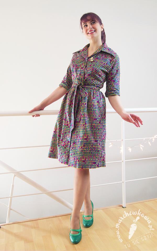marchewkowa, blog, szycie, krawiectwo, szyciowy blog roku 2012, sewing, retro, vintage, szmizjerka, shirtwaist dress, Burda, wykrój, pattern, bawełna, cotton, B-craft, 60s