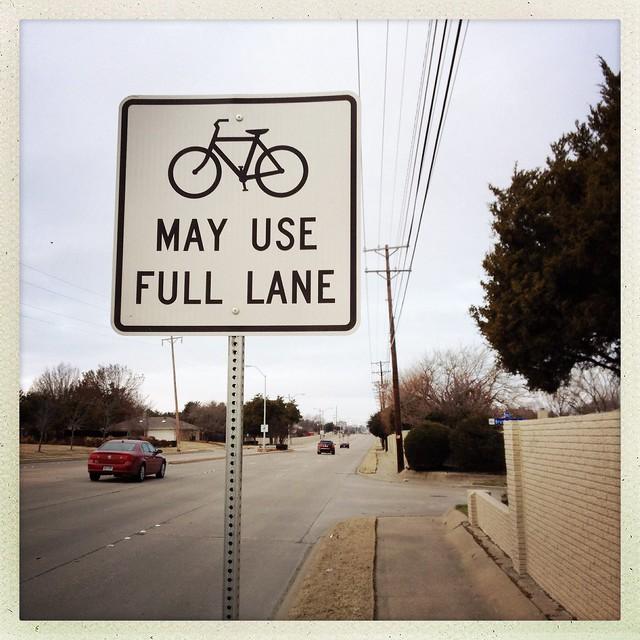 Bikes May Use Full Lane Sign - Richardson, Texas