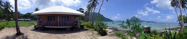 Panoramic Shot of their lodge and the beach - Gawad Kalinga Lodge & Restaurant in El Nido, Palawan, Philippines