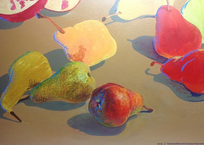 Pears, oil pastel