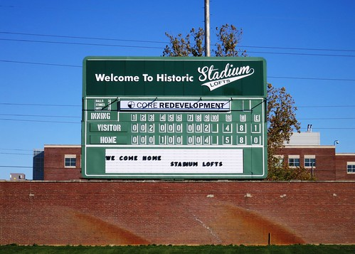 Stadium Lofts Ballpark Scoreboard Sign by Redirections Sign & Design