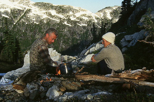 Morning Campfire in Strathcona Provincial Park on Vancouver Island, British Columbia, Canada