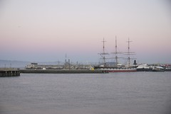 Balclutha, pink sky at twilight, Eastern side of Aquatic Park, San Francisco, a clear, crisp winter day.