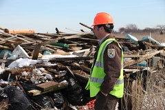PHOTO: Wildlife biologist Robin Donohue of US Fish and Wildlife Service Northeast Region surveys the debris field at Long Island's Lido Beach Wildlife Management Area.